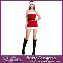 rojo ml8032 velve ajuste de la piel de navidad santa claus de fantasía para adultos disfraces vestido