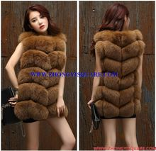 B15BB002  Women Winter Genuine Natural Rabbit Fur Overcoat with Silver Fox Piped Hood