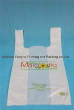 2015 hot sale custom biodegradable plastic t shirt bag for supermarket
