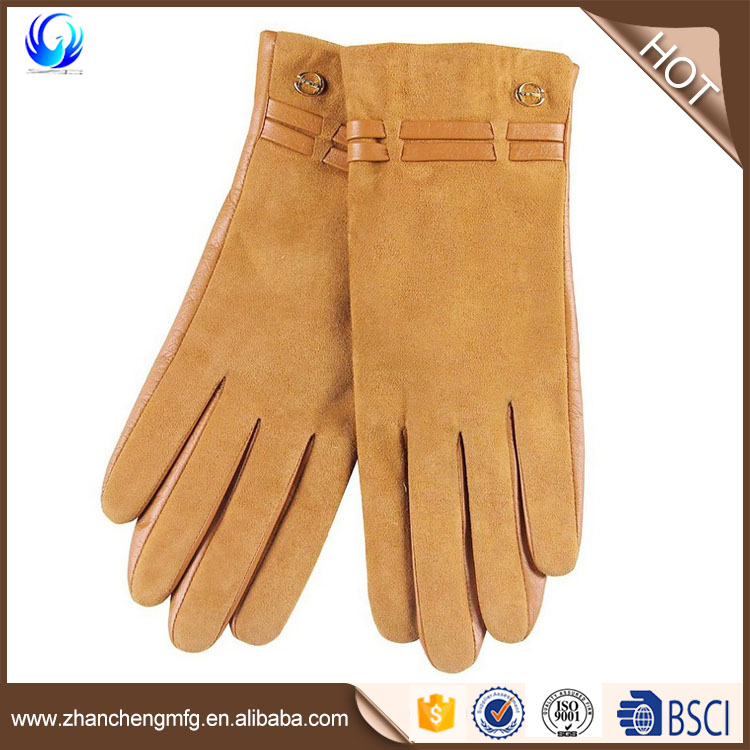 Factory Suede Hogskin gloves Light Pastel Pink with lambswool lined