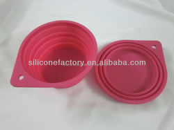 hot selling dia13.5cm portable silicone foldable dog bowl