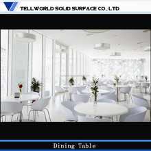 Elegant artificial stone top white dining round table and chair set
