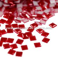 Wholesale square faceted flatback stick-on charms pearl beads garment