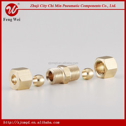 HUAWEI high quality brass compression fitting with sleeve for gas hose and copper pipe connector