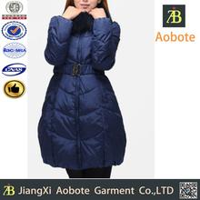 Fur Hood Women Down Winter Jacket With Belt