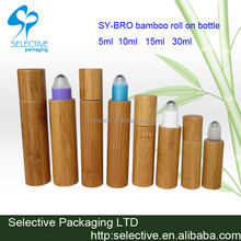 2015 new product bamboo perfume container empty roll on perfume bottle 5ml 10ml 15ml 20ml bamboo roll on bottle