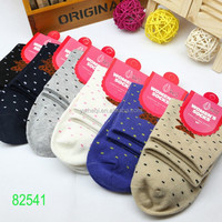 100% cotton cute sex young girl cute sport compression socks with small dot