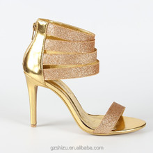 10 cm women strappy sandals high heel golden dress shoes high heel