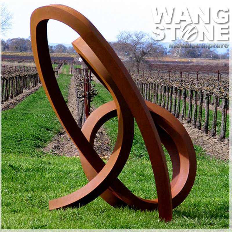 forma redonda de acero corten escultura estrella decorativa de metal al aire libre