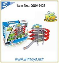 garage car parking lot toy set for children with 2pcs die cast car