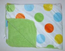 "Polka Dot Carter's Baby Blanket 38""*28"" Blue Yellow Orange Polka Dots Boy"
