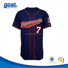2015 Royal blue short sleeve plain v neck custom jersey baseball