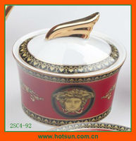elegant bone china sugar container with flower pattern 2SC4-92