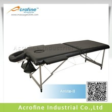 Acrofine folding portable table with aluminum legs and PVC leather