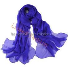 2015 Fashion Women's Pure Color Soft Long Chiffon Thin Beach Silk Wrap Stole Scarf 20 colors