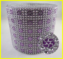 Purple 24 Lines Rhinestone Mesh Silver Base With Wind Design Sew-on for Garment