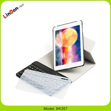 Keyboard with PU case for ipad mini, 3 in 1 keyboard case with silicone keyboard cover for ipad mini 3/2/1