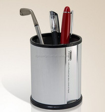 stainless steel silver pen stands with logo printing, aluminum metal pen pots