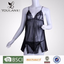 Long Experience Factory Valentine Cute Girl Black Plus Size Sexy Nightwear