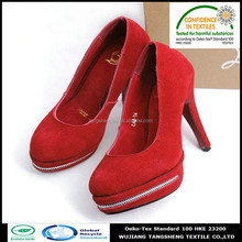 100% recycled poly suede fabric shoes materials