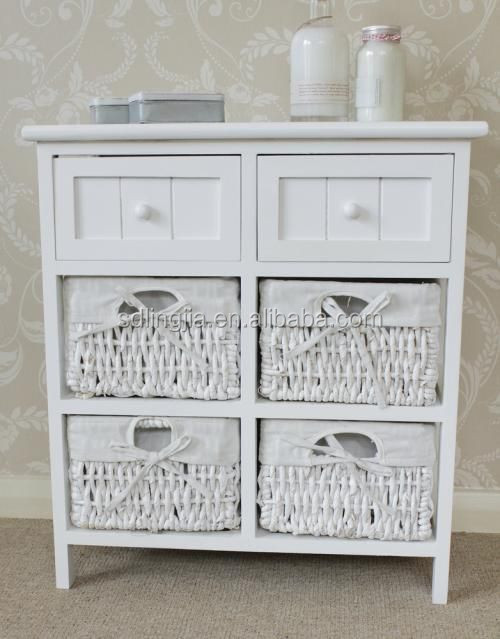 White Wooden Cabinet Rattan Basket Drawers Home Organizer Furniture Hobby Lobby Buy Furniture