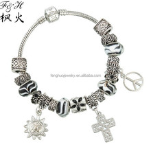 Yiwu newest product cross charm and alloy bead fit handmade crystal bead bracelet jewelry