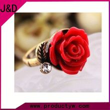 2015 Factory Trendy Women Adjustable Acrylic Red Rose Rings