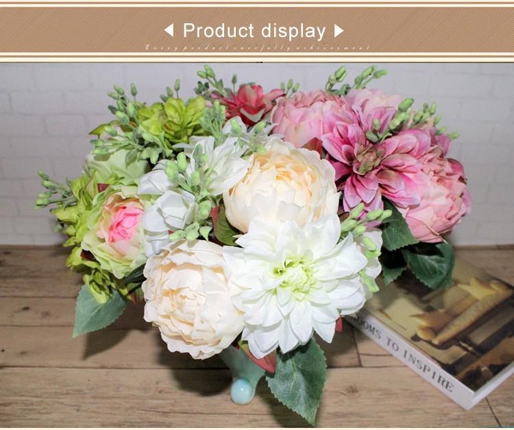 Cheap Artificial Peony Dahlias Fake Silk Fabric Peonies Flowers ...