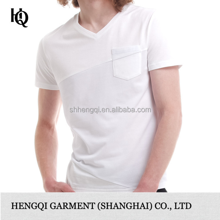 high end v neck plain white t shirt for sublimation for