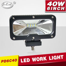 "12V 24V 40W 6"" rectangle LED working light for road vehicle atvs trucks bus"