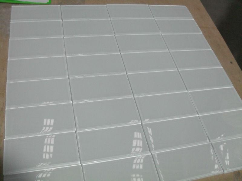 Blanco azulejo de vidrio de la cocina 3x6 inch 75x150mm - Azulejos de cristal ...