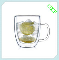 350ml Double Wall Clear Pyrex Glass Coffee Cup