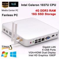 Dual display mini pc Desktop computer intel Celeron 1037U cpu 4G RAM 16G SSD intel Graphics card USB 3.0
