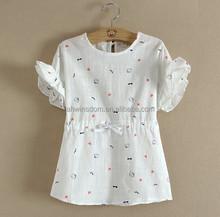 D70625H 2015 Korean children dress new summer cotton dress girls printing cat dress for girl