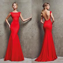 Wedding Dress EM63330 Elegant Red Mermaid Low Back Evening Dress 2016