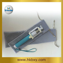 light grey self-pole pouch, drawstring velvet bag for selfie stick