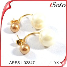 Hot New Products For 2015 Joyas De Oro Double Pearl Earrings
