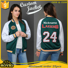 Custom Made Cheap Ladies Baseball Basketball Varsity Jacket Green Wholesale Team Sport Coaches Puffer Slim Fit Jackets Online
