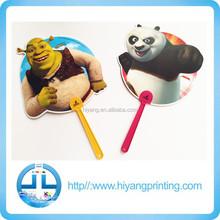 2015 Summer hot sale promotional cartoon mini hand pp fan/PP Advertising Fan