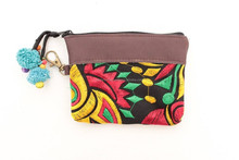 Brown Leather Top Coin Purse with Beautiful Carnival Pattern - Rasta