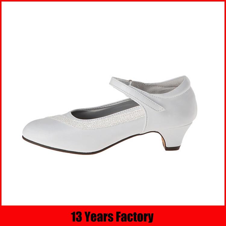 white color satin kid heel shoe