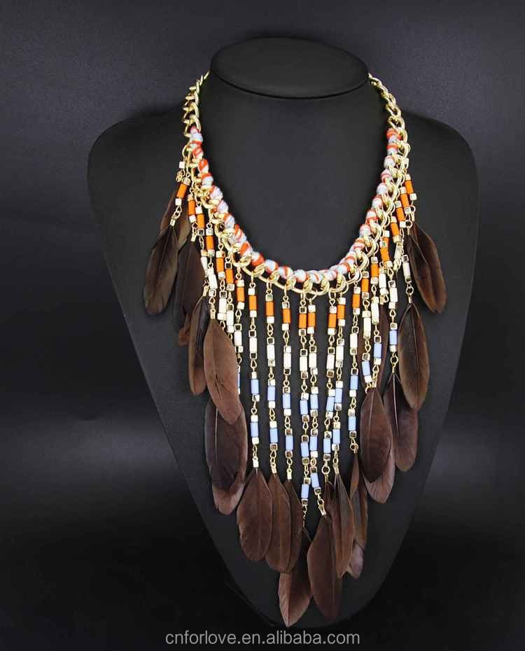 zinc alloy gold plated multicolor feather necklace meaning