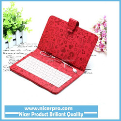 7inch keyboard leather case cover for tablet pc pad Red