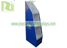 Fashion corrugated Cardboard Pallet Display stand with hooks for Carrefour