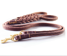 Wholesale brown leather sewn collars ,leather dog leash and collar ,2015 new design braided leather dog leash/pet leash