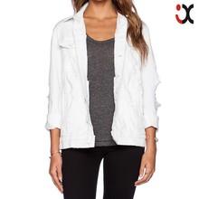 2015 abotonado de la manga el brazalete dañado blanco bomber jacket women jeans JXQ1111