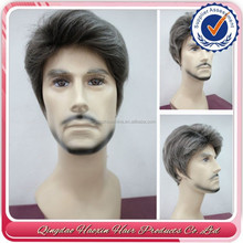 New design 2015 wholesale toupee indian hair top quality natural gray hair wig for men