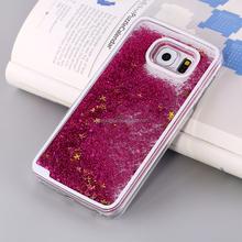 Fashion Transparent Dynamic Liquid Glitter mobile phone case for Samsung galaxy S6 Edge