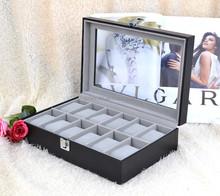 diamond black leather pu empty 12 slot paper watch display case