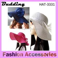 Women Ribbon Band Sun Straw Hat New Women Derby Cap Wide Large Brim Floppy Fold Summer Beach Sun Straw Beach Hat